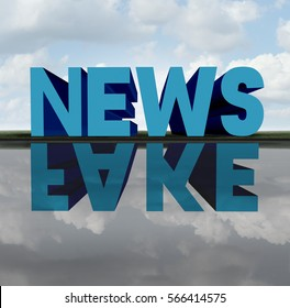 Fake news concept and media hoax journalistic reporting as text casting a reflection of a hidden agenda as false reporting metaphor and deceptive disinformation with 3D illustration elements.