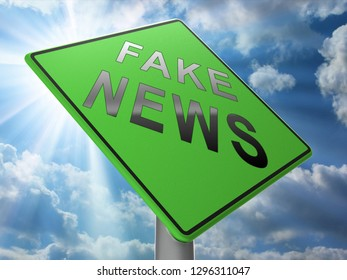 Fake News Icon Roadsign Means Misinformation Or Disinformation. Online Hoax Or Misleading Information  - 3d Illustration
