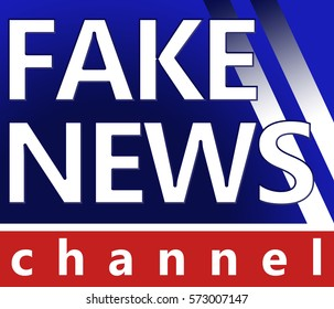 fake news logo on blue background with channel footer on red background
