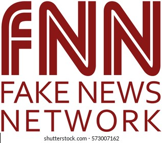 Fake News Logo. White background with red text.