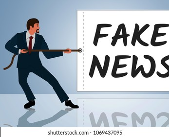 Fake News Message Is Being Pulled 3d Illustration. Hoax Report To Misinform Public Is A Misleading Deception.