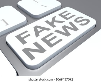 Fake News Misleading Fact Computer Keyboard Key 3d Illustration. Hoax Report To Misinform Public Is A Misleading Deception.