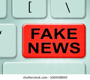 Fake News Misleading Reporting Computer Keyboard Key 3d Illustration. A Misinformation Hoax And Misleading Deception From Dishonest Media.
