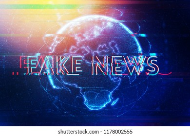 Fake news modern digital era, conceptual illustration with text overlaying globe