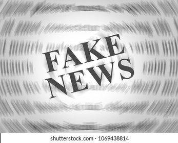 Fake News Newspaper Words On Blurred Newspaper 3d Illustration. A Misinformation Hoax And Misleading Deception From Dishonest Media.