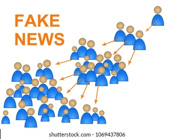 Fake News People Shows Message Spreading 3d Illustration. Shows Untrue Deception And Propaganda From An Unsubstantiated Liar.