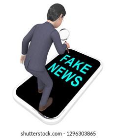 Fake News Phone Represents Misinformation On Social Media. False Information And Propaganda - 3d Illustration