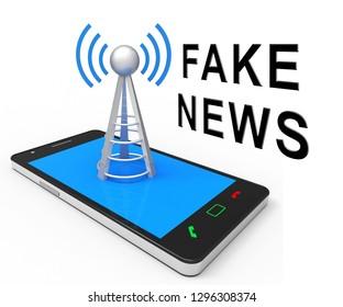 Fake News Phone Shows Misinformation On Social Media. False Information And Propaganda - 3d Illustration