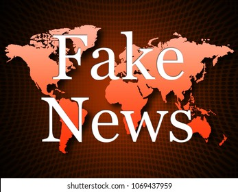 Fake News Propaganda On Map Alternative Facts 3d Illustration. A Misinformation Hoax And Misleading Deception From Dishonest Media.