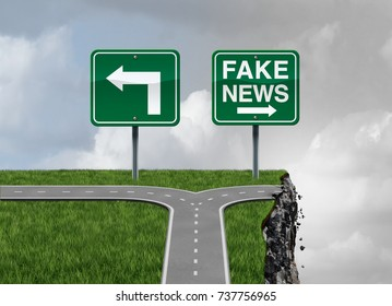 Fake news risk and alternative facts danger concept as a crossroad path with truth and false direction traffic sign leading to a cliff as fraudulent communication symbol with 3D render elements.