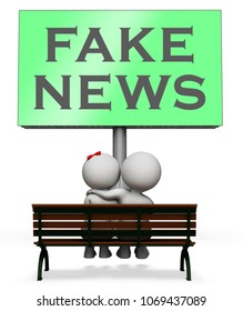 Fake News Sign Meaning Misleading 3d Illustration. Hoax Report To Misinform Public Is A Misleading Deception.