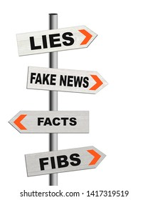 Fake news signposts, lies, disinformation, misinformation concept. Signs isolated on white background.