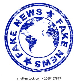 Fake News Stamp Meaning Misinformation 3d Illustration. A Misinformation Hoax And Misleading Deception From Dishonest Media.