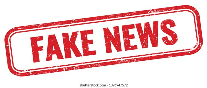 FAKE NEWS text on red grungy rectangle stamp.