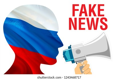 Fake News text on Russia flag 3D rendering. Russian flag waving in the wind. Russian Fake news concept. russian economy RT today latest world news concept. Aggression country concept.Fake concept