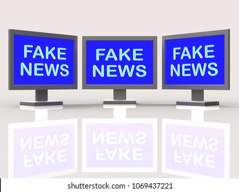 Fake News Tv Screens Means Stop Misleading 3d Illustration. Disinformation Or Alternative Facts In Politics As A Propaganda Hoax And Misleading Untruth.