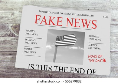 Fake News US Concept: Newspaper Front Page, 3d illustration on wood