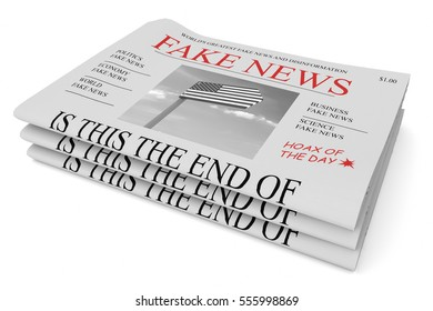 Fake News US Concept: Pile of Newspapers, 3d illustration on white background