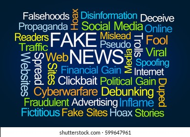 Fake News Word Cloud on Blue Background