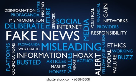 Fake news word tag cloud. 3D rendering, blue variant.
