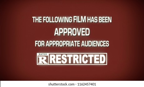 A fake spoof retro vintage aged film leader for a movie reel: approved with restrictions, rating R (restricted audiences).
