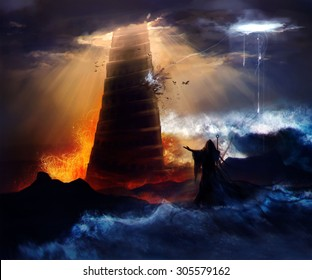 The fall of the Babylon. Sorcerer in hood standing in front of an ancient destructed Babylon tower with flood, fire & hurricane illustration.