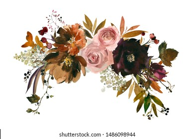 Fall Brown Maroon Purple Plum Pink watercolor Floral Arrangement Isolated on White Background