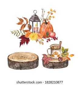 Fall floral compositions. Watercolor hand painted autumn flowers, leaves, wood slice, warm drink in a mug, candle with vintage lantern, pumpkin illustration. Thanksgiving day cards design