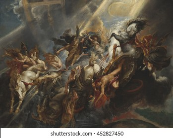 The Fall of Phaeton, by Peter Paul Rubens, 1605-06, Flemish painting, oil on canvas. Phaeton, wrecks Apollo's Sun Chariot, disrupting its path causing part of Earth to freeze and other parts to burn.