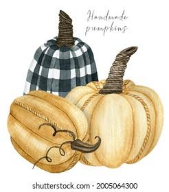 Fall pumpkin arrangement clipart, fabric handmade checkered pumpkin illustration for thanksgiving decor, autumn harvest clip art composition