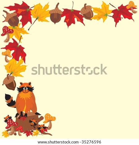 fall raccoon boarder fall leaves acorns stock illustration 35276596