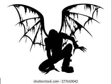 Fallen Angel Silhouette. Silhouette of the fallen angel with burned wings