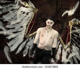 A fallen angel with spread wings.