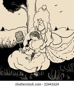 The fallen asleep spinner and goddess Mokosh