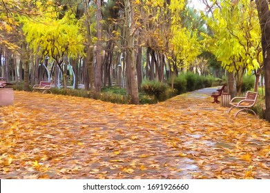 Fallen autumn leaves on a park sidewalk in a rainy day (photo turned into the ultra-realistic photo-painting with a photo to painting application)