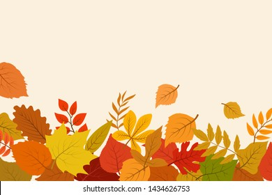Fallen gold and red autumn leaves. October nature abstract background with foliage border. Autumn gold leaf poster and banner illustraion