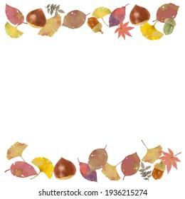 gefallene Blätter und Kastaniengrafik von Herbstmotiven