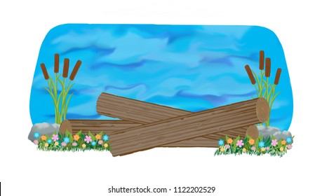 Fallen log cross-country jump into water with bulrushes and flowers decorating the ground line.