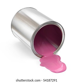 Fallen paint can with pink paint spill