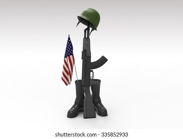 Fallen soldier tribute, helmet, gun, boots and flag, 3d render