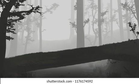 fallen tree, natural bridge in magical forest, dark and foggy fantasy forest landscape, 3d illustration