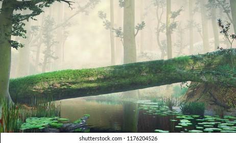 fallen tree, natural crossing in fantasy forest, magical landscape, 3d render