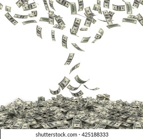 Falling $100 both from front and back like real one on white background. 3d rendering