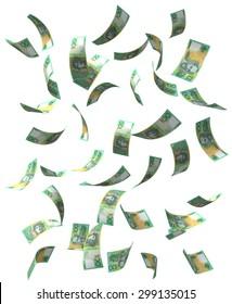 Falling Australian Dollar bills. Isolated on white.