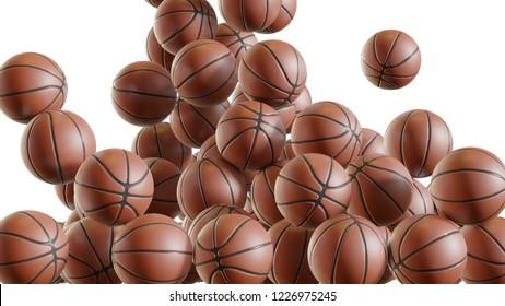 "Falling basketballs that pile up ""3D rendering"""