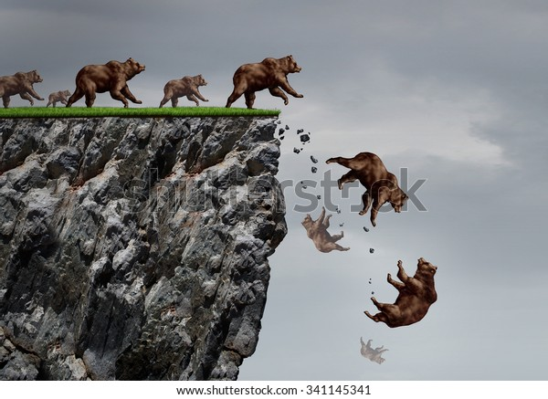 Falling bear market financial decline business and plummeting finance concept for losing investment and value taking a nose dive as a group of bears in a free fall  dive off a financial cliff.
