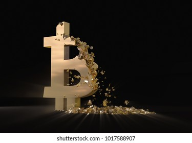 Falling bitcoin price. Golden bitcoin symbol is scattered.