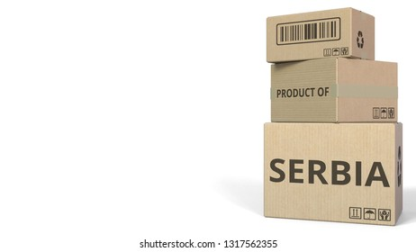 Falling boxes with PRODUCT OF SERBIA text. Conceptual 3D rendering