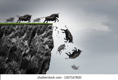 Falling bull market financial business profit decline as a symbol of losing positive gains in a free fall as a bullish icon falling off a cliff with 3D illustration elements.