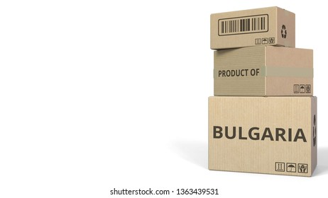 Falling cartons with PRODUCT OF BULGARIA text. 3D rendering
